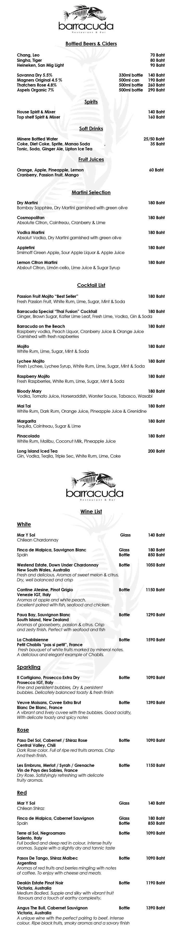 Barracuda Restaurant And Bar Menus Drinks Menu